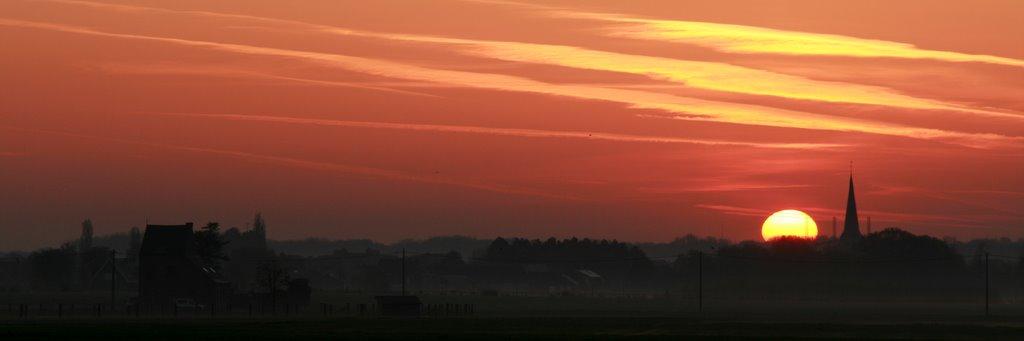 Lever du soleil à Perk (Brabant Flamand, Nord-est de Bruxelles)