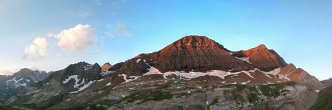 Dawn on the Taillon peak