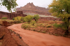 The Castle, seen during a flash flood of the Fremont river in Capitol Reef National Park