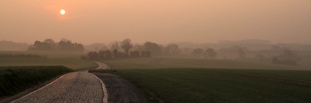 Misty sunrise on a small road between Waterloo and Ohain