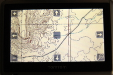 This is how the topo map downloaded with USAPhotoMaps looked like on my TomTom One XL around Nipple Bench, Glen Canyon National Recreation Area, Utah. The map IS in color but this is desert with nothing to show in color !