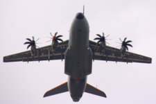 The new transport aircraft of the Belgian Air Force (Airbus A400M) was present in the sky of Brussels