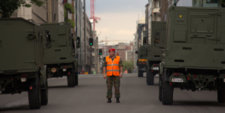 Belgian soldier checking traffic
