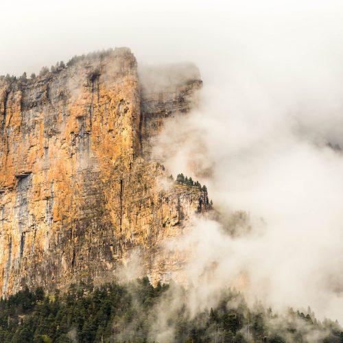 A wall of Ordesa Canyon after the rain