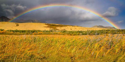 Full rainbow along the road (Montana)