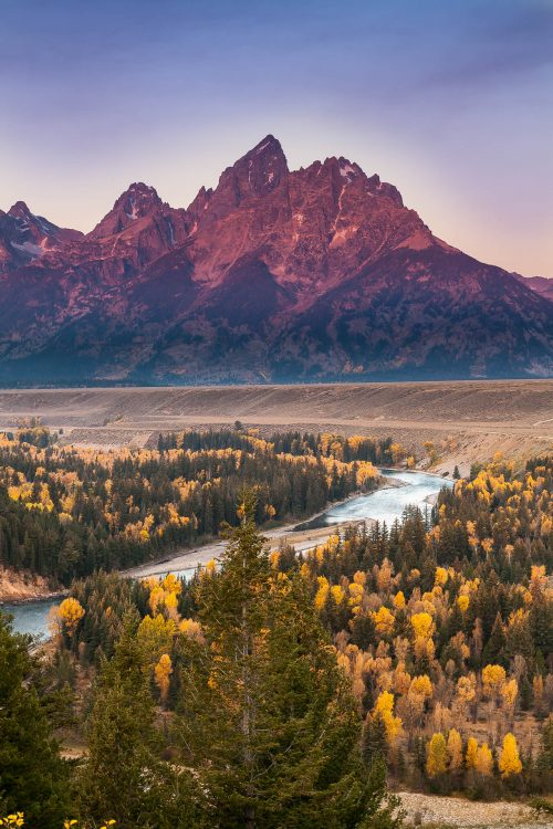 Sunrise on the Grands Tetons and the Snake River