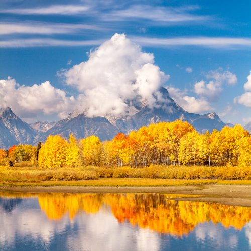 Mount Moran and the river Snake at Oxbow Bend